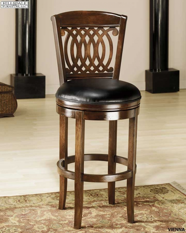 Hillsdale Wilshire Swivel Wood Bar Stool With Arms
