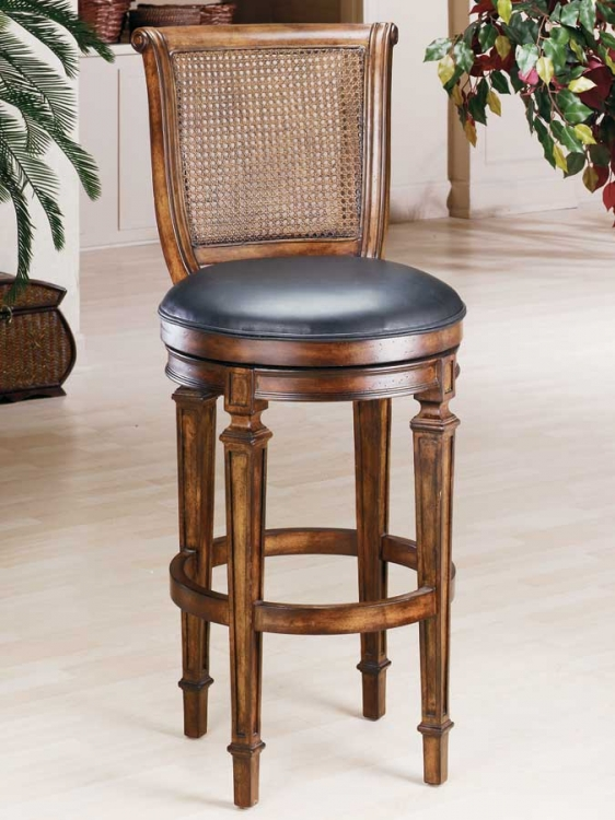 Dalton Cane Back Wood Bar Stool