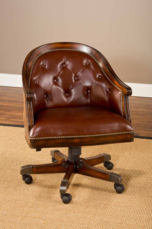 Harding Game Chair - Rich Cherry/Brown Leather