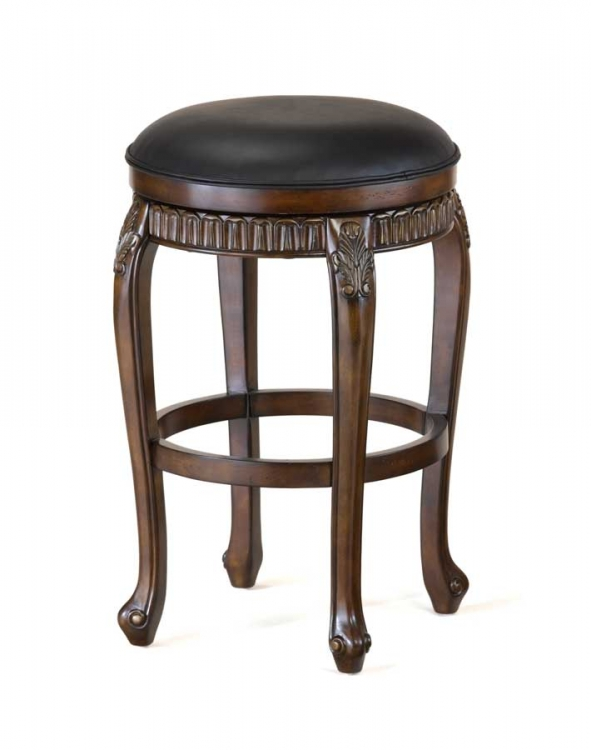 Fleur De Lis Swivel Wood Bar Stool - Backless