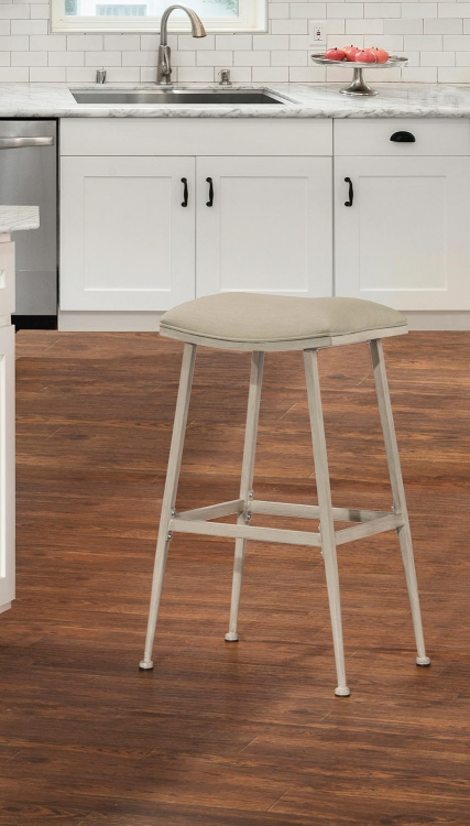 Flynn Indoor/Outdoor Backless Bar Stool - Whitewash
