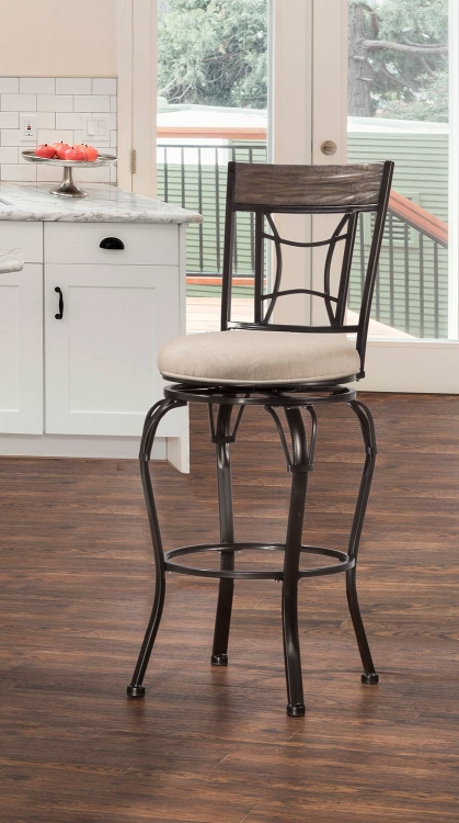 Kent Indoor/Outdoor Swivel Bar Stool - Black