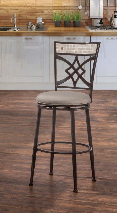 Halstead Indoor/Outdoor Swivel Counter Stool - Midnight Mocha