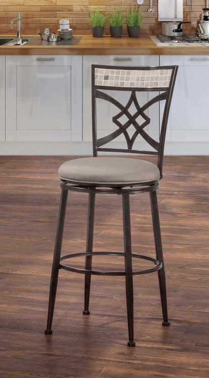 Halstead Indoor/Outdoor Swivel Bar Stool - Midnight Mocha