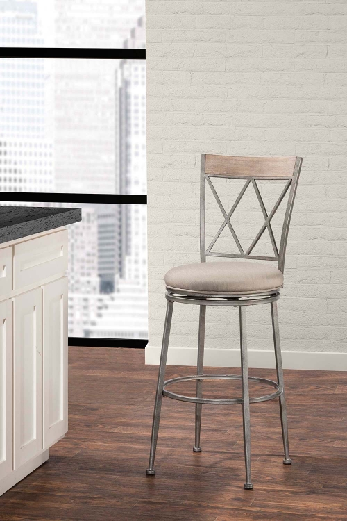 Stewart Indoor/Outdoor Swivel Bar Stool - Aged Pewter
