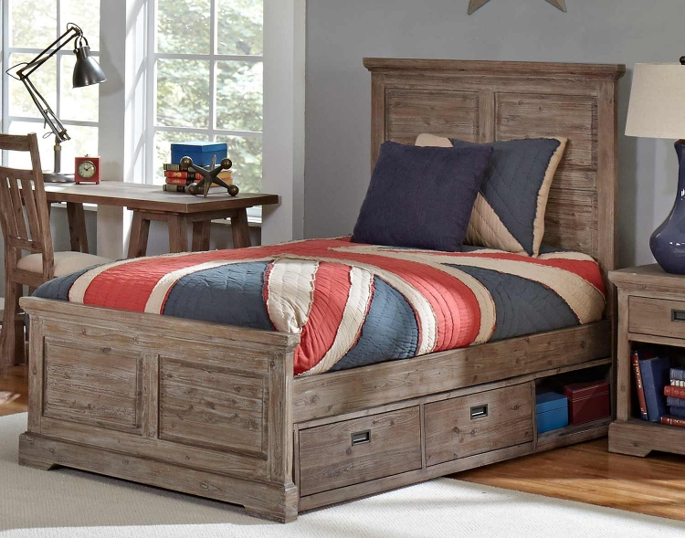Oxford William Panel Bed With Storage - Cocoa