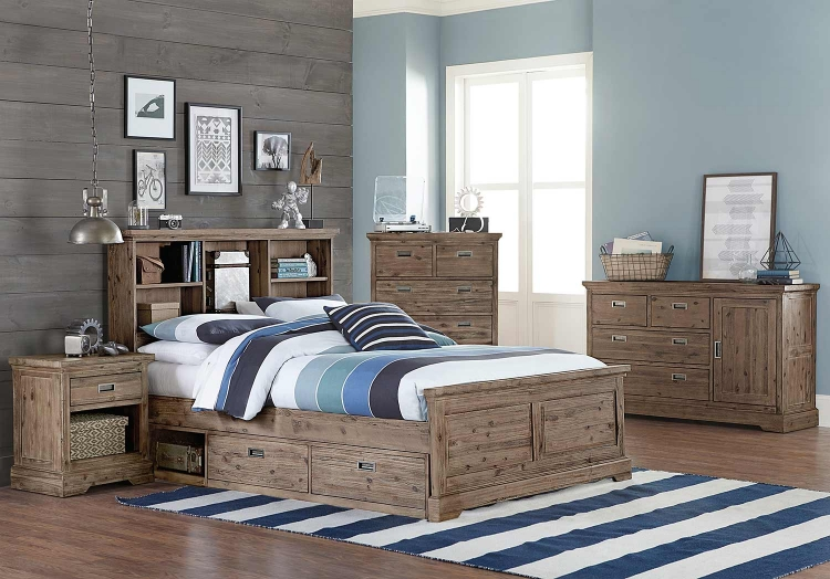 Oxford Bookcase Bedroom Set With Storage - Cocoa