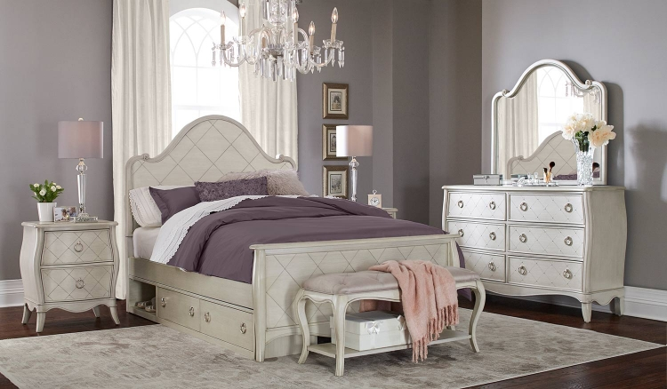 Angela Arc Panel Bedroom Set With Storage Unit - Opal Grey