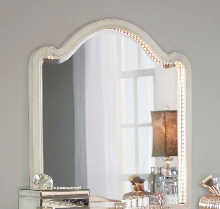 Angela Wood Arc Lighted Vanity Mirror - Opal Grey