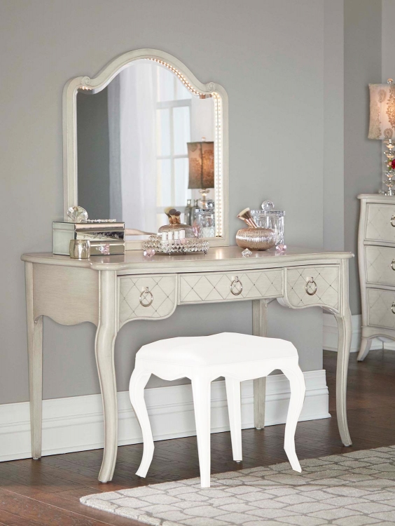 Angela Desk With Arc Lighted Vanity Mirror - Opal Grey