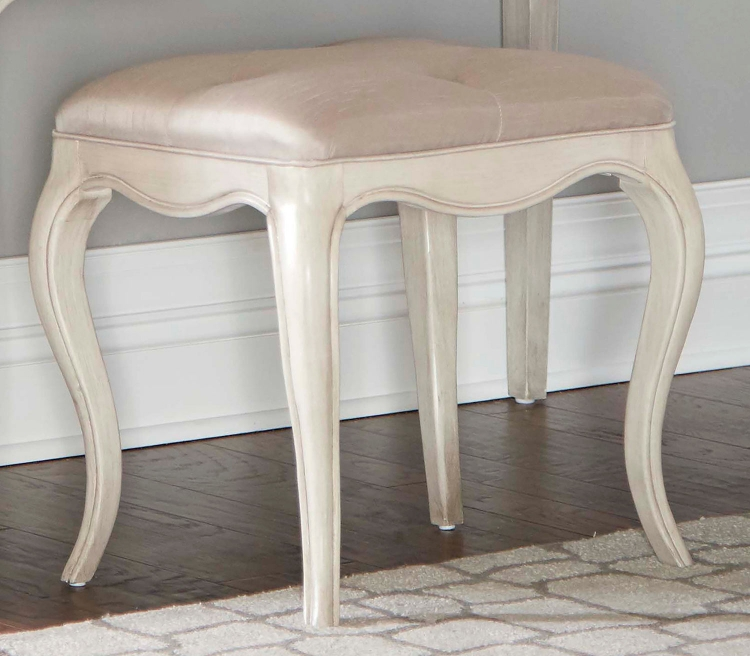 Angela Rectangle Stool With Tufted Top - Opal Grey
