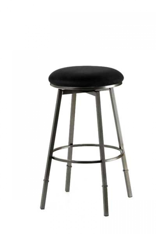 Sanders Adjustable Backless Bar Stool - Pewter Frame - Black Fabric