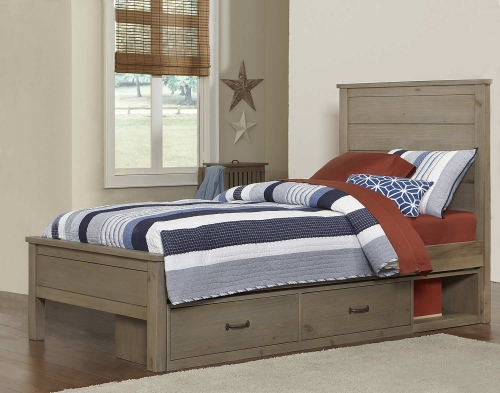 Highlands Alex Bed With Storage - Driftwood