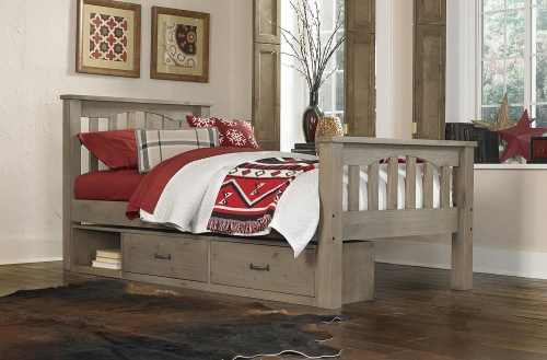 Highlands Harper Bed With Storage - Driftwood