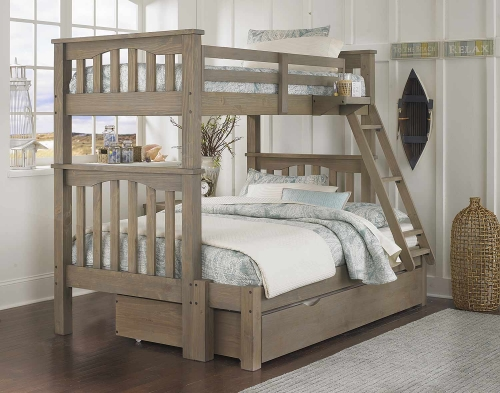 Highlands Harper Twin Over Full Bunk With Trundle - Driftwood
