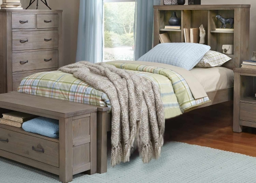 Highlands Bookcase Bed - Driftwood