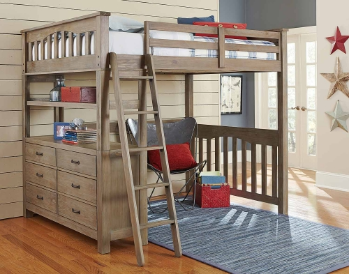 Highlands Loft Bed - Driftwood