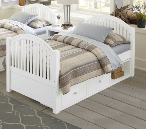 Lake House Adrian Twin Bed With Storage - White