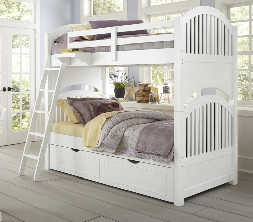 Lake House Adrian Twin Over Twin Bunk With Trundle - White