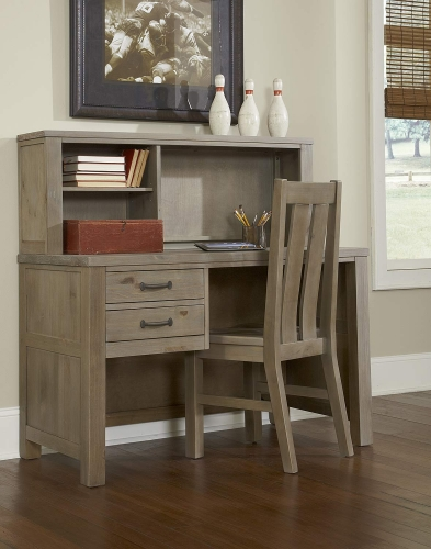 Highlands Desk with Hutch And Chair - Driftwood