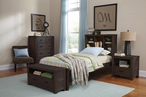 Highlands Bookcase Bedroom Set - Espresso