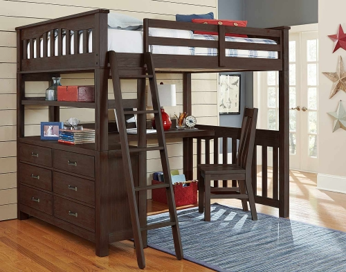 Highlands Loft Bed with Desk And Chair - Espresso