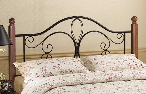 Milwaukee Wood Post Headboard - Black/Cherry