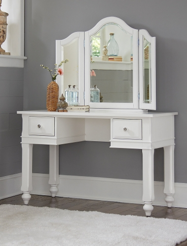 Lake House Writing Desk with Vanity Mirror - White