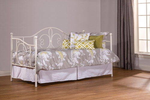 Ruby Daybed with Suspension Deck and Roll Out Trundle Unit - Textured White