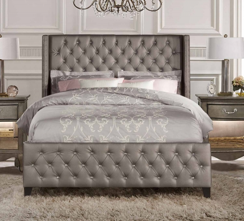 Memphis Bed - Diva/Textured Pewter Faux Leather