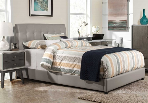 Lusso Bed - Gray Faux Leather