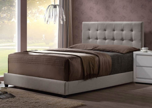 Duggan Bed - Light Linen Gray Fabric