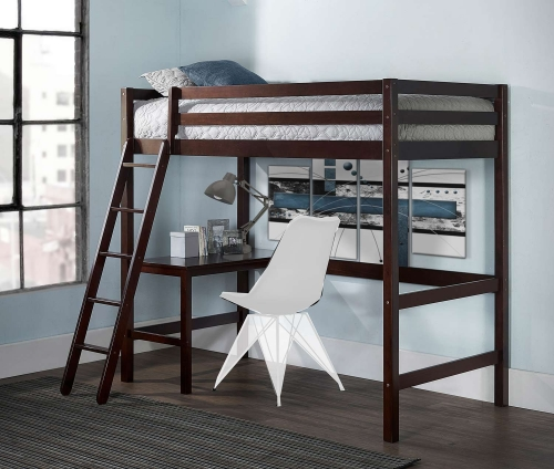 Caspian Twin Study Loft Bed - Chocolate