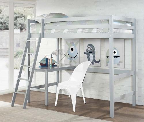 Caspian Twin Study Loft Bed - Gray