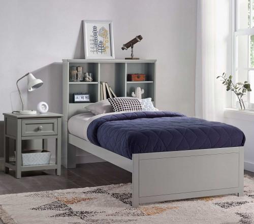Caspian Twin Bookcase Bed with Nightstand - Gray