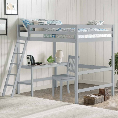 Caspian Full Loft Bed with Chair - Gray