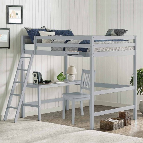 Caspian Full Loft Bed with Chair and Hanging Nightstand - Gray