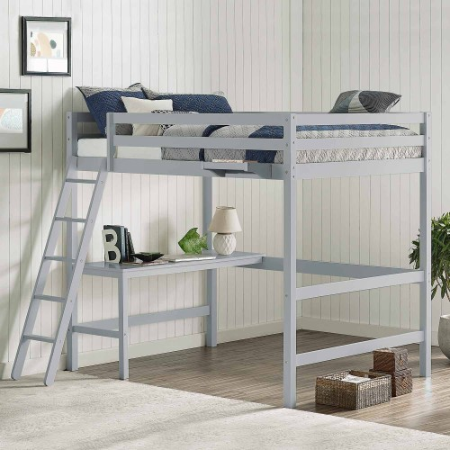 Caspian Full Loft Bed with Hanging Nightstand - Gray
