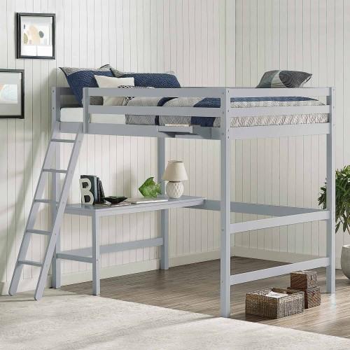 Caspian Full Loft Bed with Hanging Nightstand - Gray