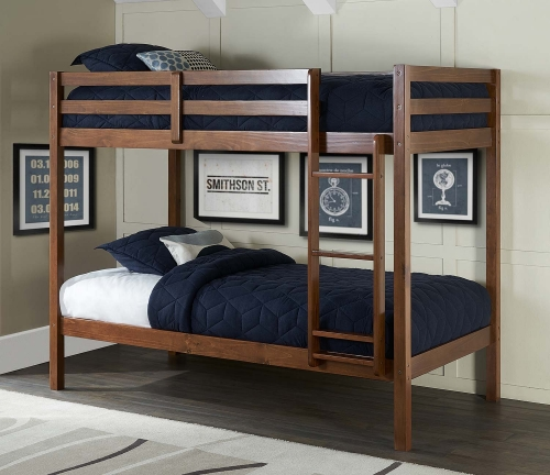 Caspian Twin Over Twin Bunk Bed - Walnut