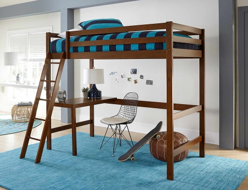 Caspian Twin Study Loft Bed - Walnut