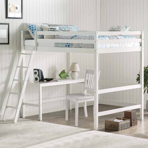 Caspian Full Loft Bed with Chair - White
