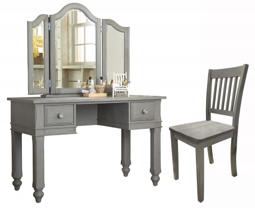 Lake House Writing Desk with Vanity Mirror and Chair - Stone