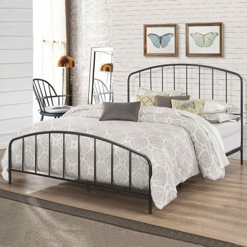 Tolland Metal Bed with Arched Spindle Design - Black