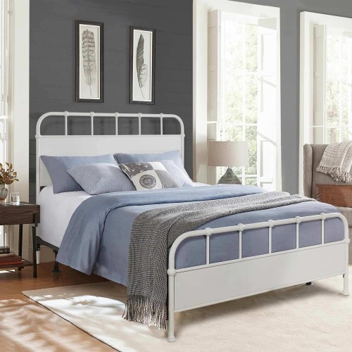 Grayson Metal Bed - Textured White