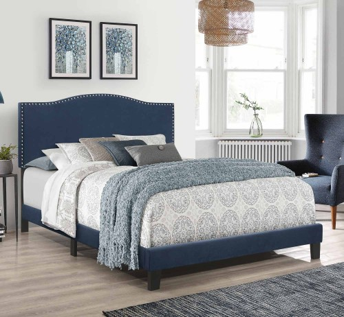 Kiley Upholstered Bed - Blue Velvet
