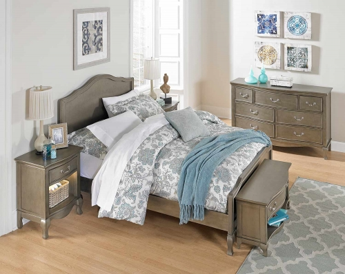 Kensington Charlotte Panel Bedroom Set - Antique Silver