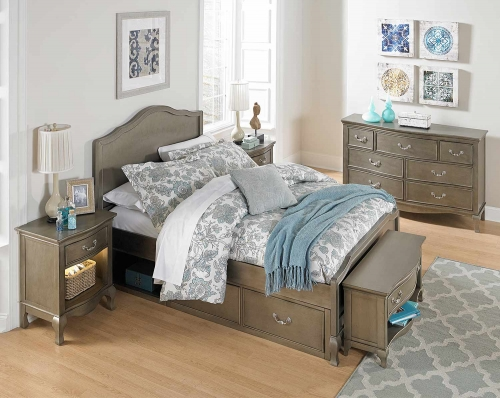 Kensington Charlotte Panel Bedroom Set With Storage - Antique Silver