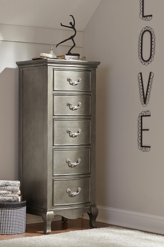 Kensington 5 Drawer Tall Chest - Antique Silver