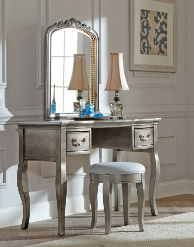 Kensington Writing Desk with Vanity Mirror and Stool - Antique Silver